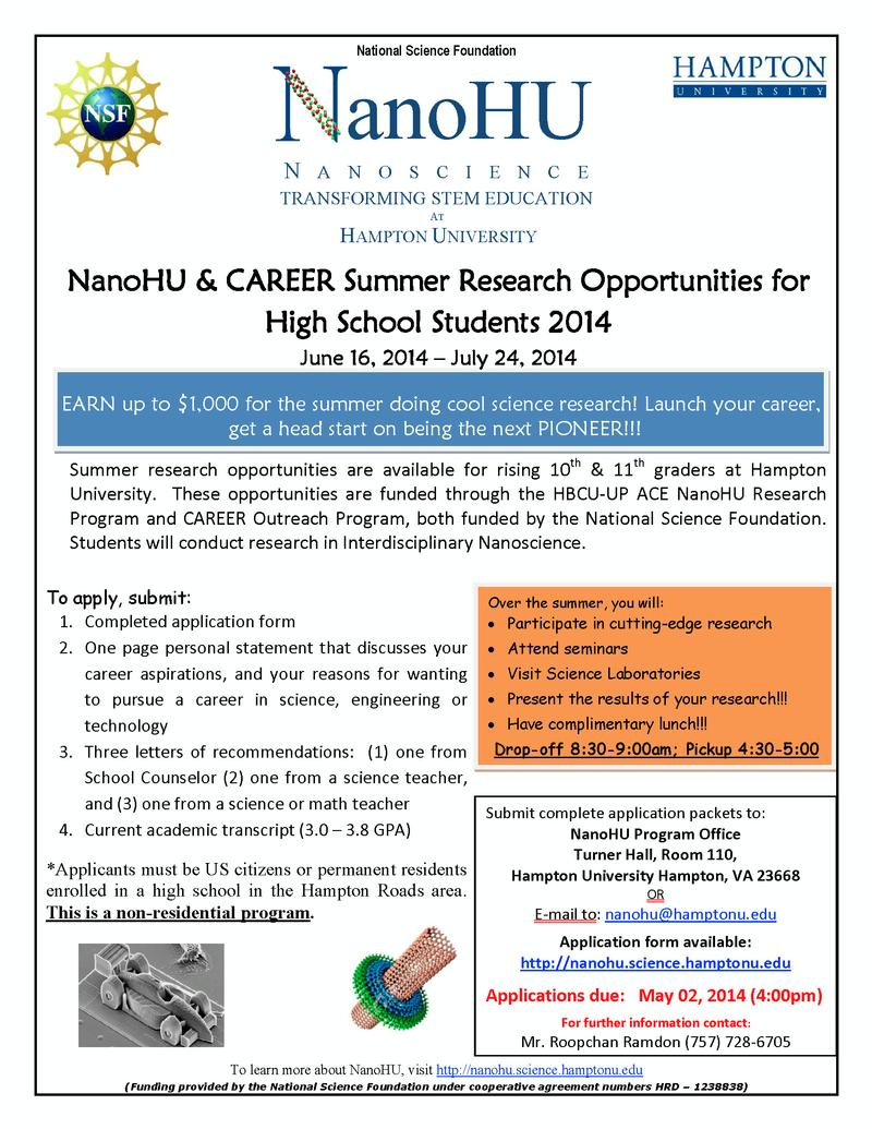 NanoHU Summer High School Flyer
