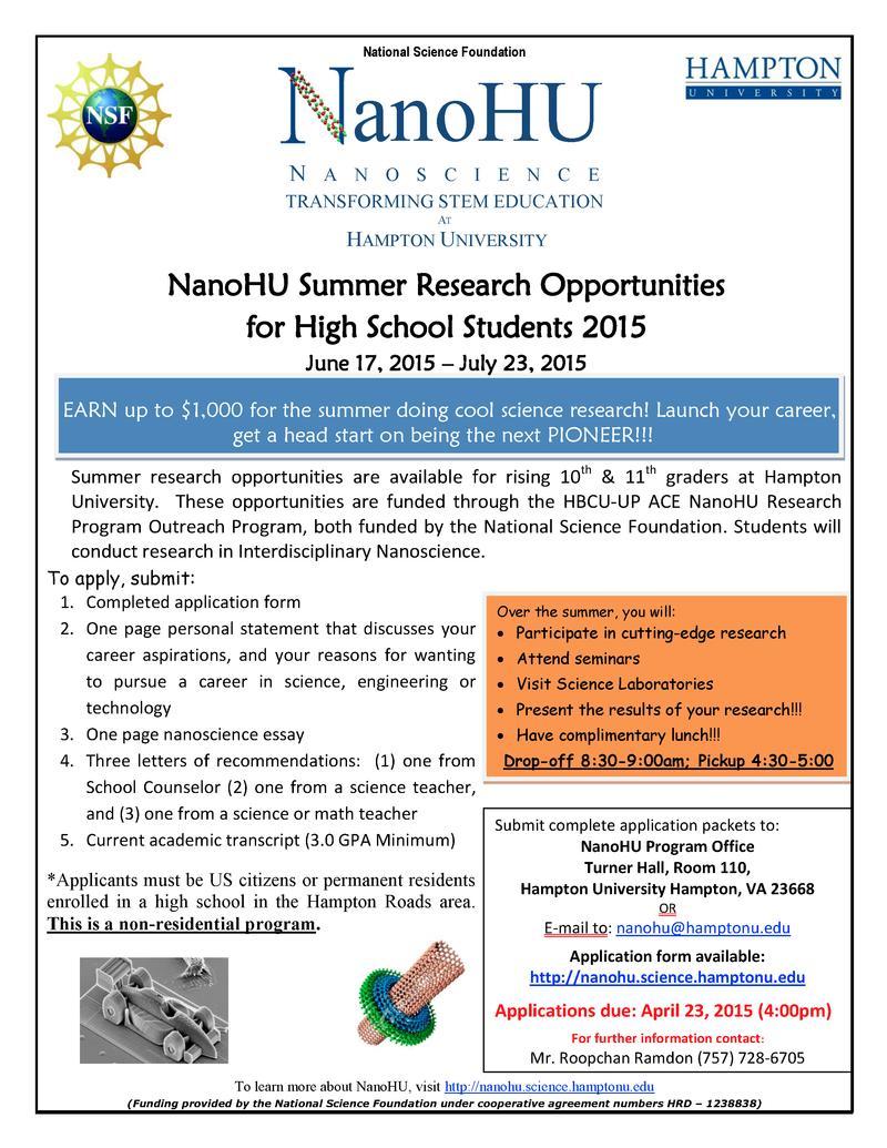NanoHU Summer High School Flyer