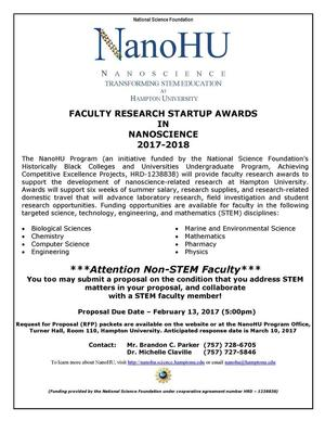 NanoHU Faculty Research Startup Award Flywer